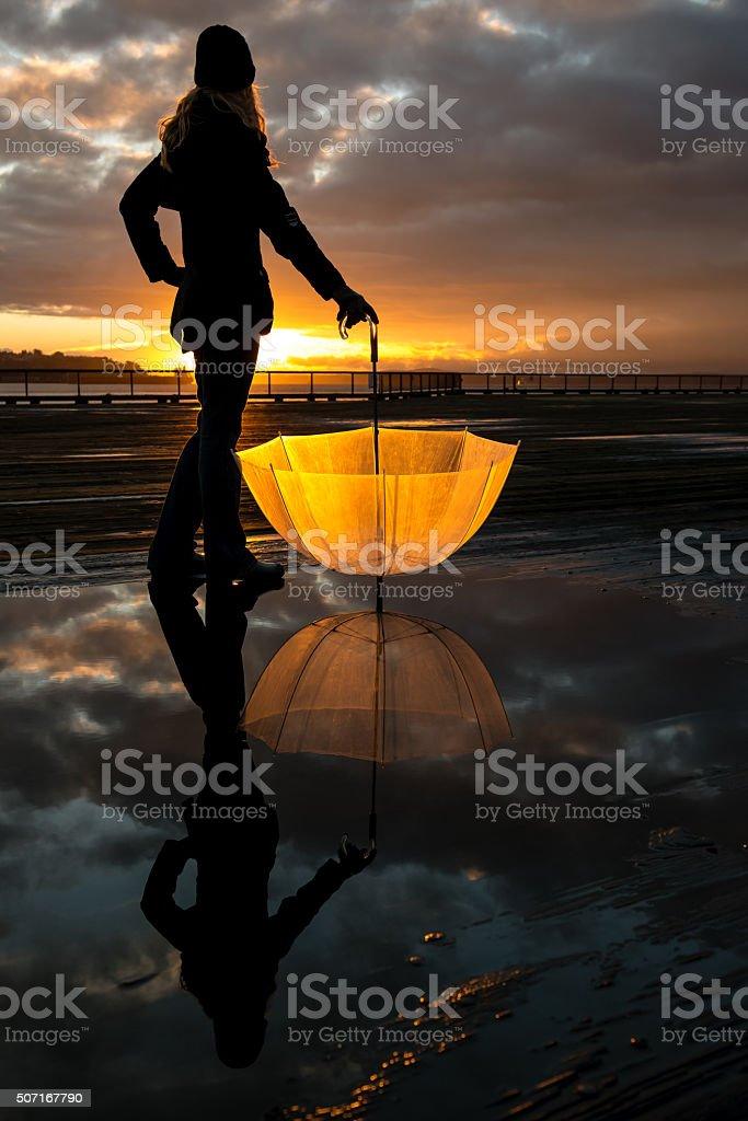 Golden Seattle Sunset stock photo