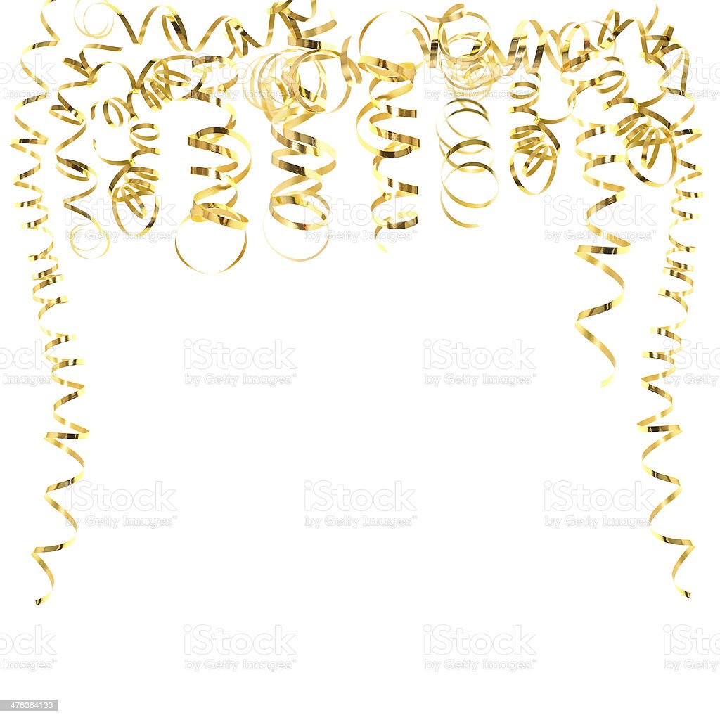 golden serpentine streamers isolated on white stock photo