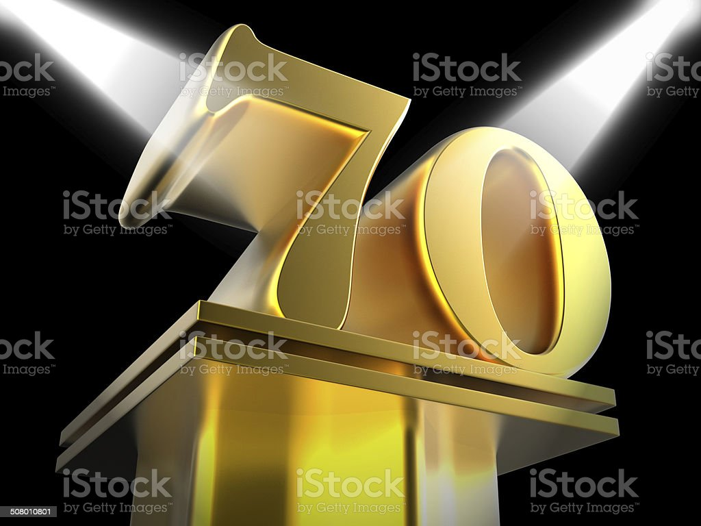Golden Seventy On Pedestal Means Honourable Mention Or Excellenc stock photo