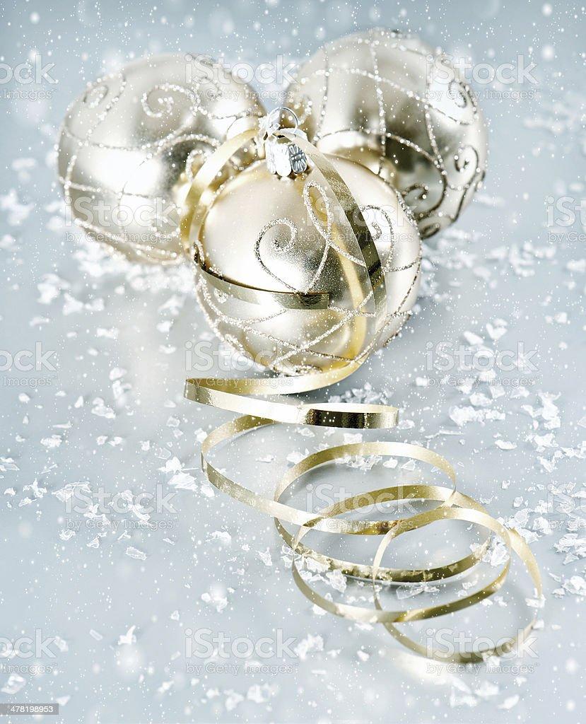 golden shiny christmas balls with snowflakes decoration stock photo