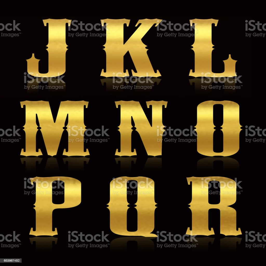 Golden shiny letters stock photo