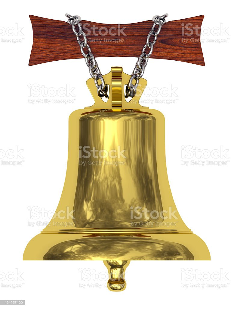 Golden ship's bell suspended on wooden board by silver chain stock photo