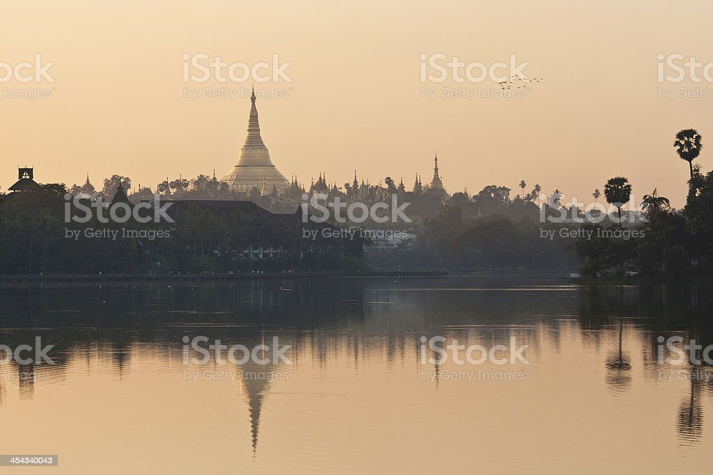 Golden Shwedagon pagoda in Yangon, Myanmar royalty-free stock photo