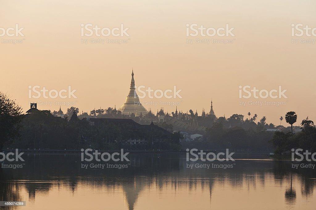 Golden Shwedagon pagoda in Yangon, Myanmar royalty-free stock photo