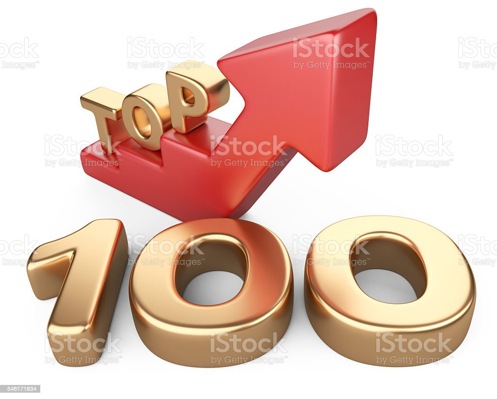 Golden sign top 100 and a red ladder. stock photo