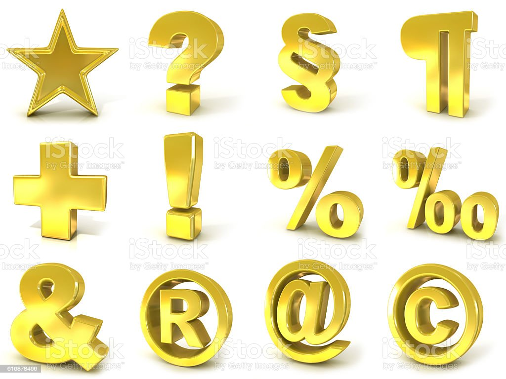 3D golden signs and symbols stock photo
