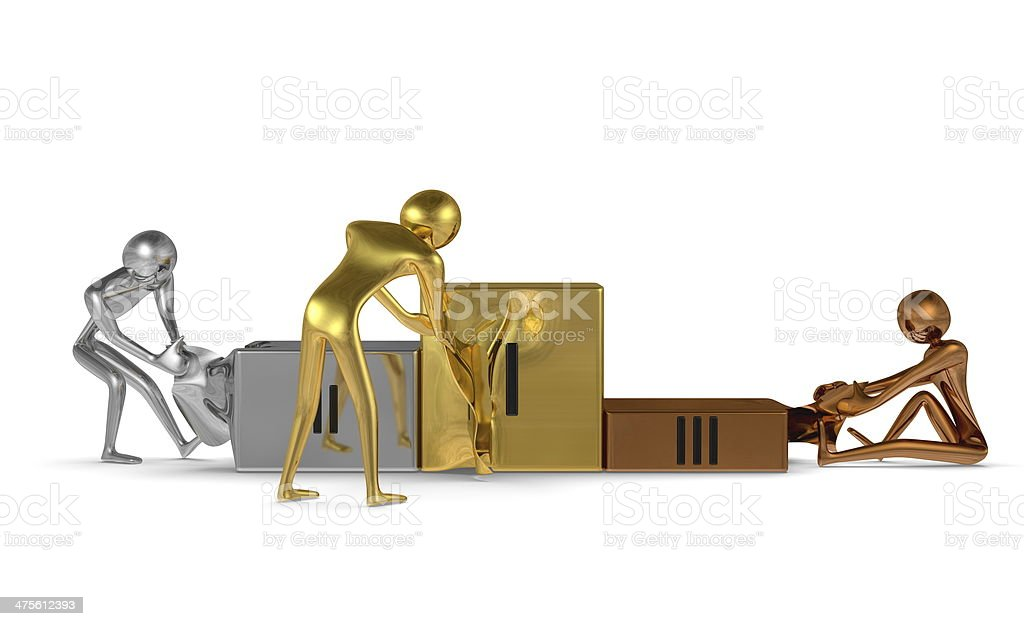 Golden, silver and bronze characters tearing podium. Front view stock photo