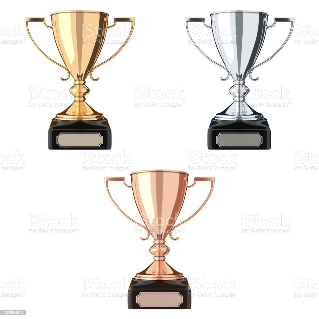 Golden, silver and bronze trophy set stock photo