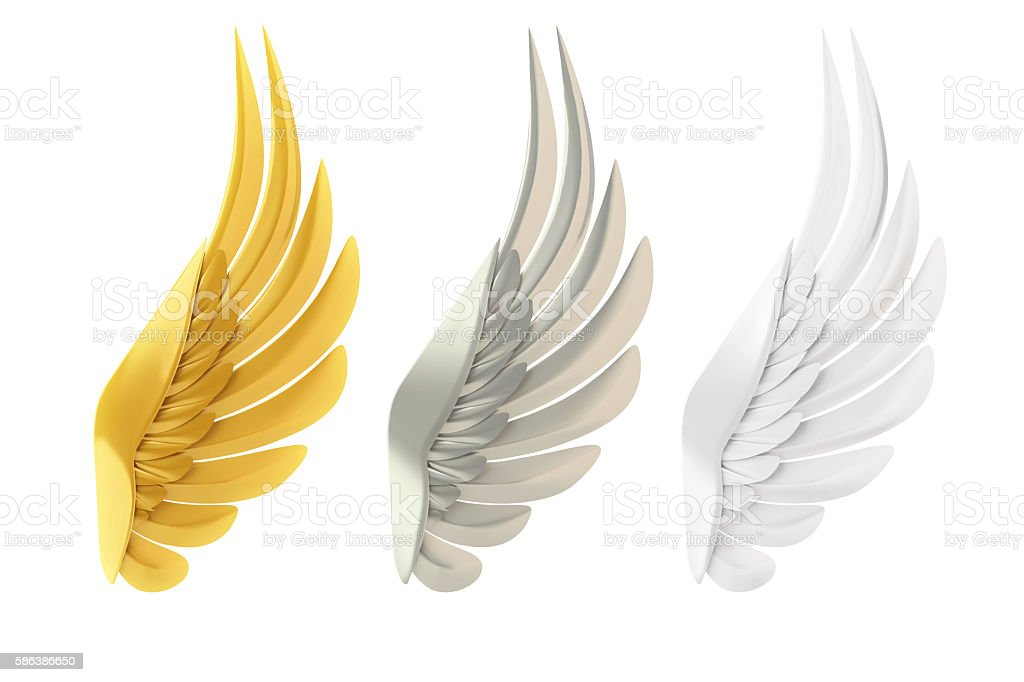 Golden, silver and white wings stock photo