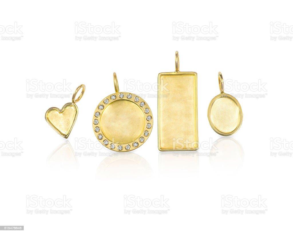 Golden Silver blank customizable trinket pendants with diamonds stock photo