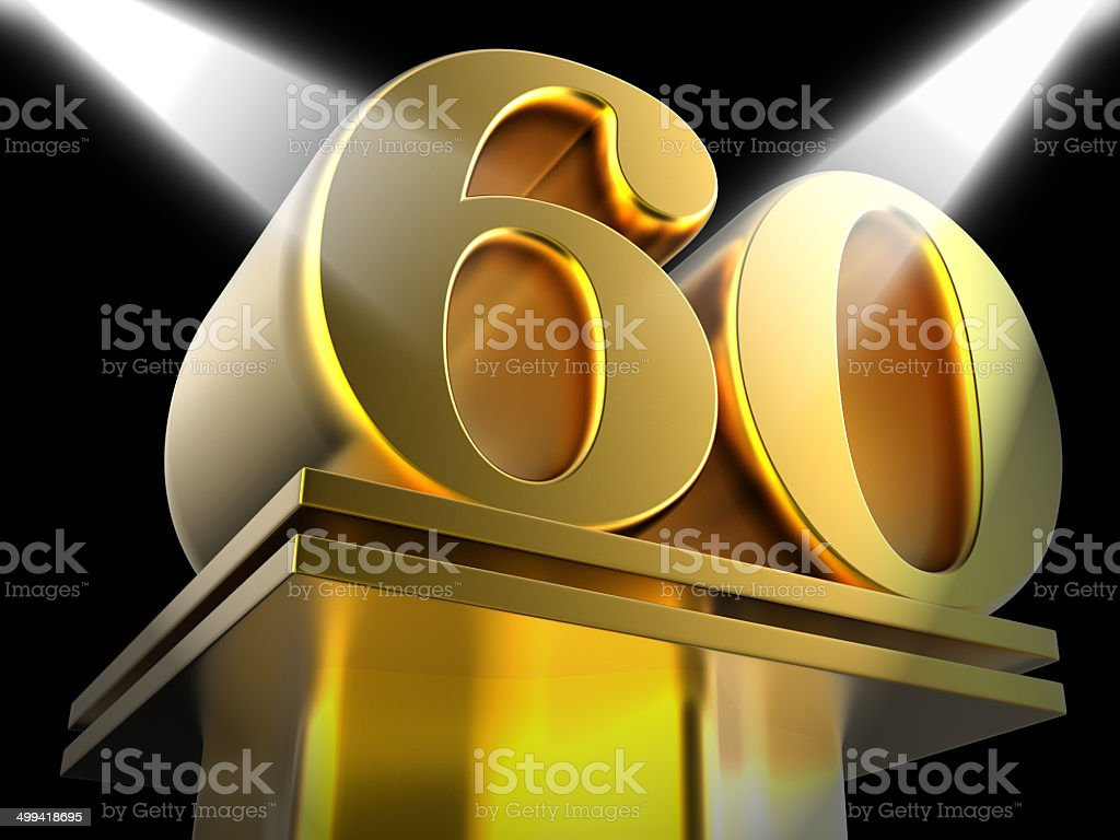 Golden Sixty On Pedestal Shows Sixtieth Entertainment Anniversar stock photo