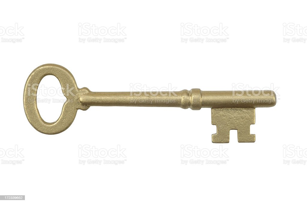 Golden Skeleton Key with Path stock photo