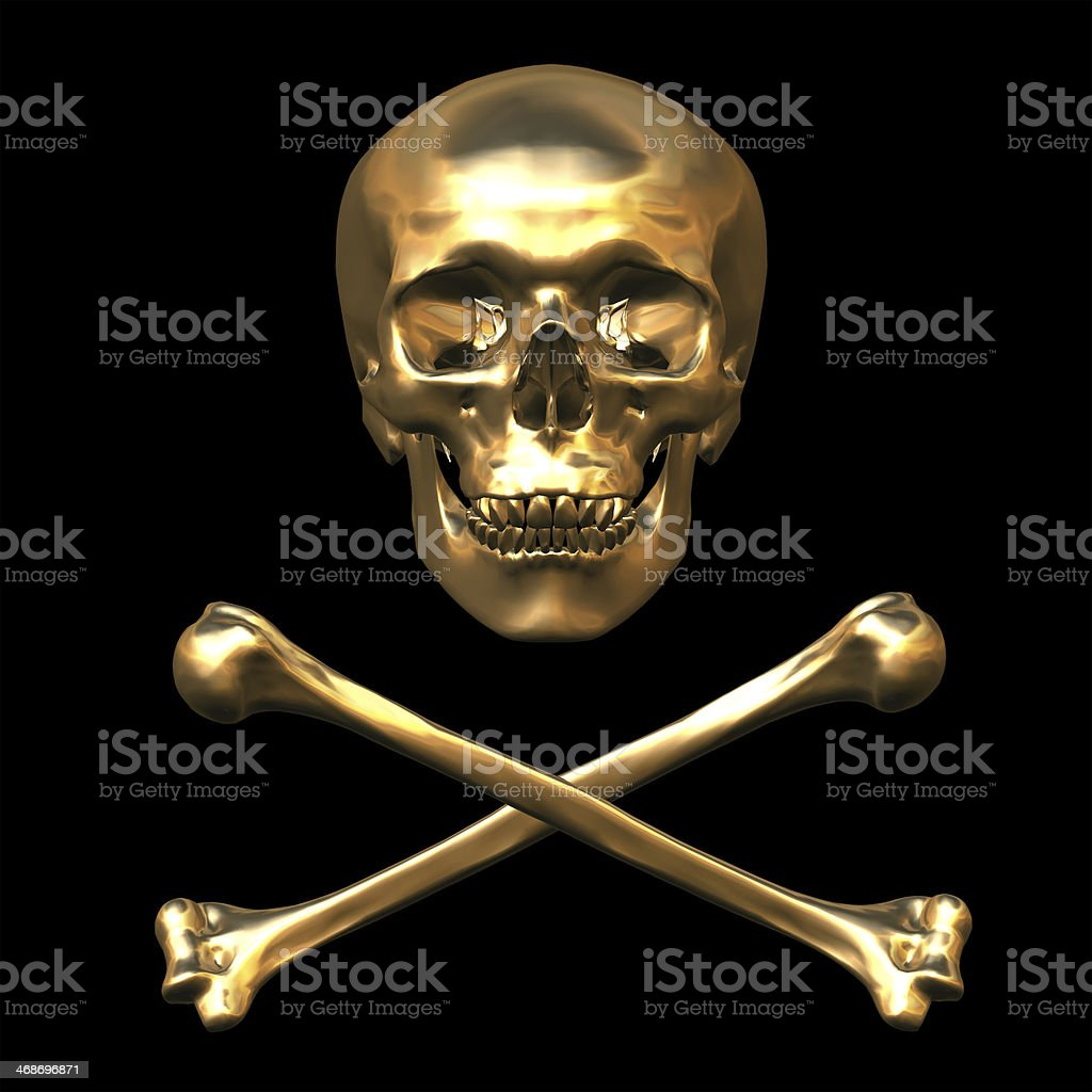 Golden Skull and Bones stock photo