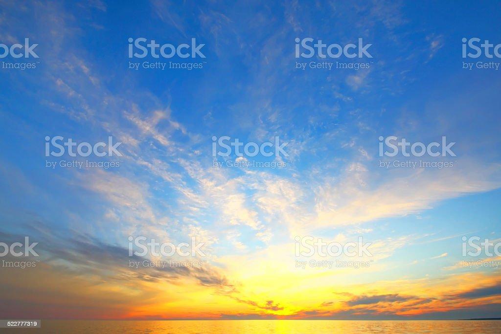 Golden sky of a decline stock photo
