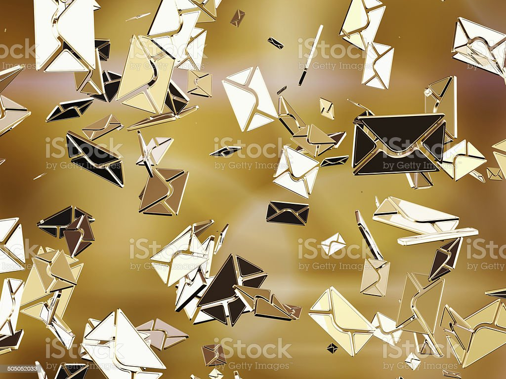 Golden sms or e-mail. stock photo