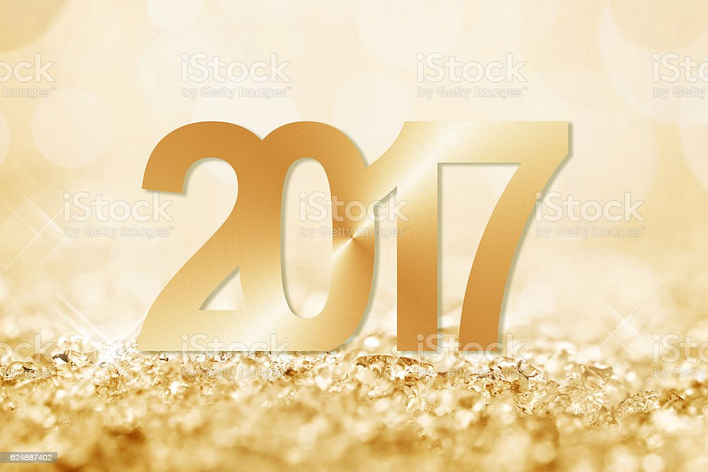 2017 golden snow and bokeh greeting card stock photo