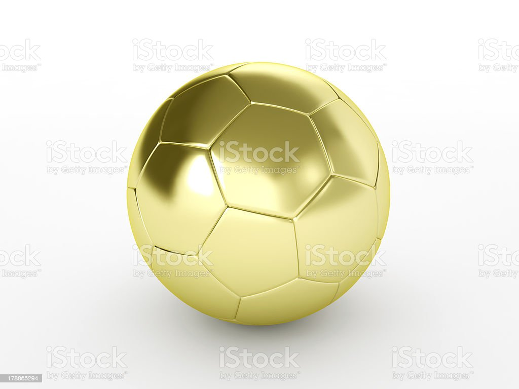 Golden soccer ball isolated on white royalty-free stock photo