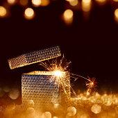 Golden sparkling surprise gift