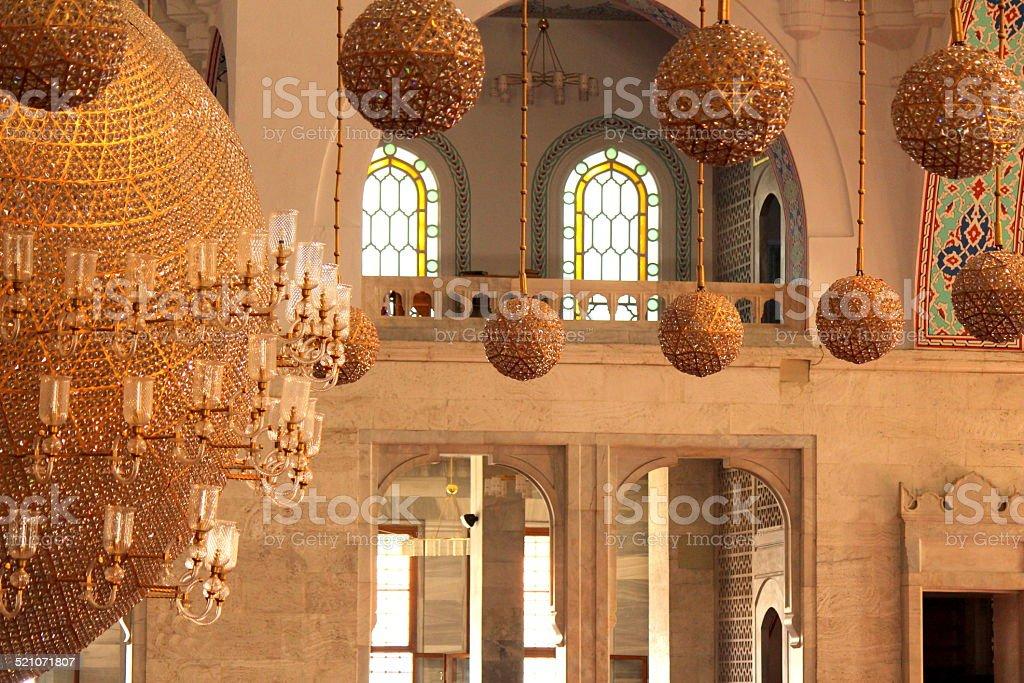 Golden Sphere Chandiliers in Kocatepe Mosque stock photo