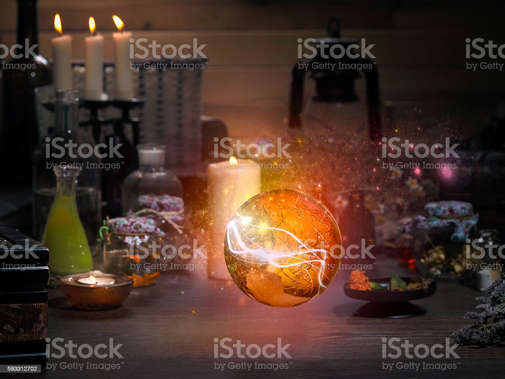 Golden Sphere. Magic items. stock photo