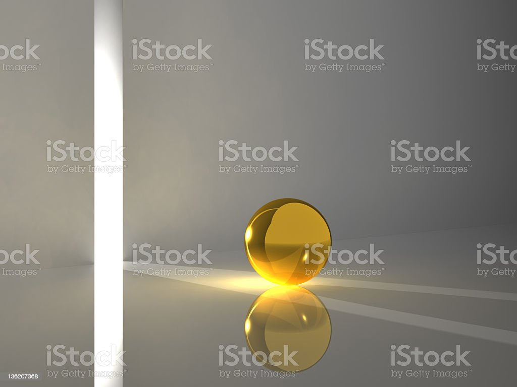 Golden sphere reflecting light royalty-free stock photo