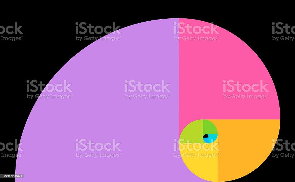 Golden spiral on black stock photo