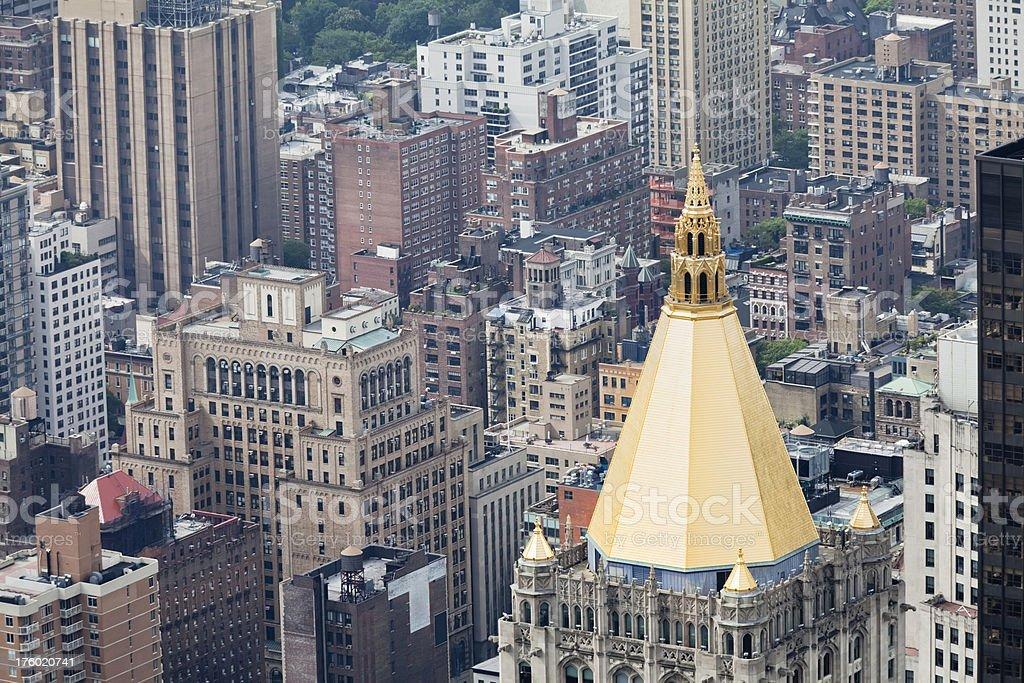 golden spire on top of skyscraper (XXXL) royalty-free stock photo
