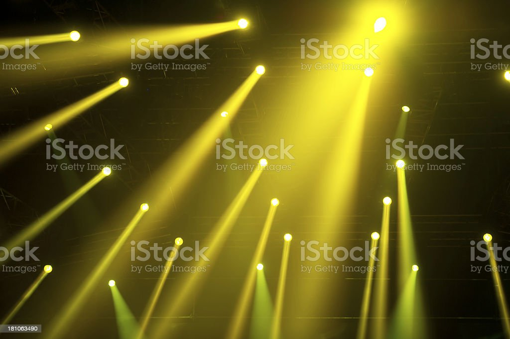 Golden Spotlight Beams royalty-free stock photo