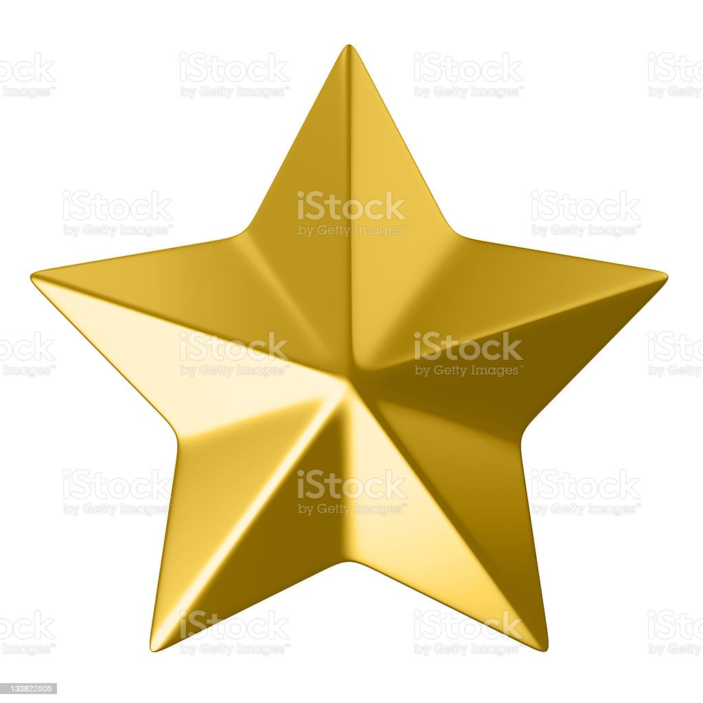 golden star, clipping path included stock photo