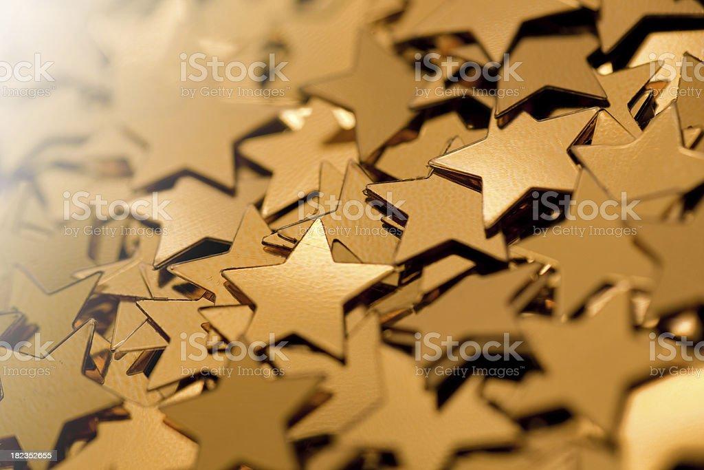 Golden star confetti stock photo