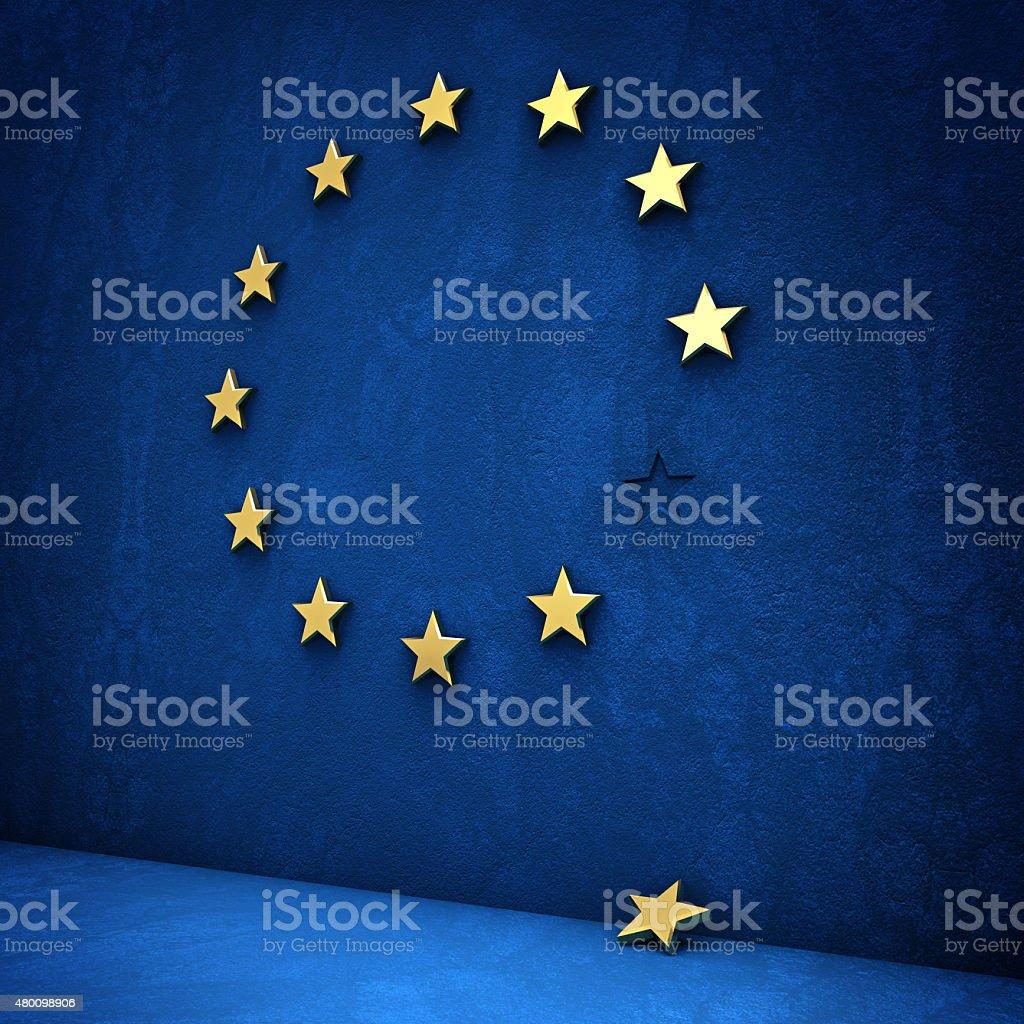 golden star fallen from the european flag stock photo