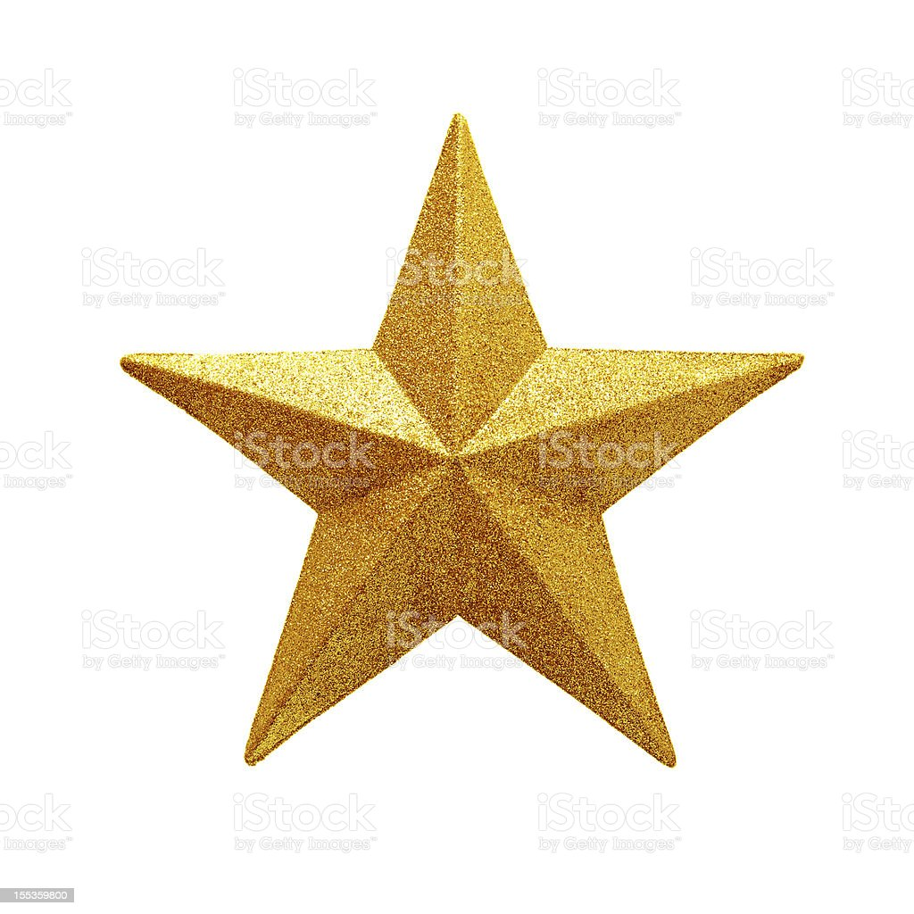 Golden Star isolated on white background stock photo