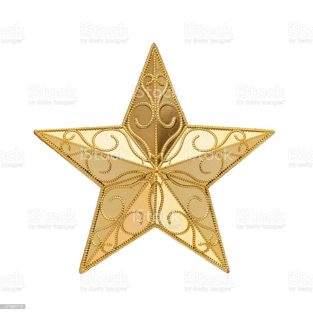 Golden Star (Clipping path!) isolated on white background stock photo