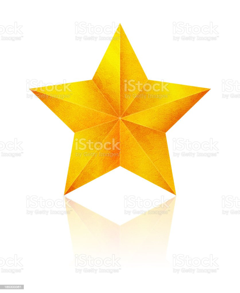 Golden Star (Clipping Path!) isolated on white background royalty-free stock photo