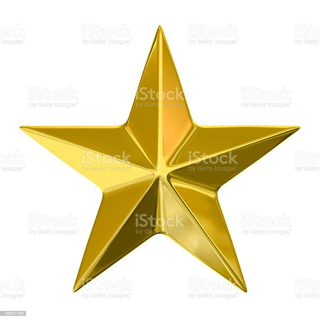Golden Star on White Background, with Clipping Path (XXXL-49MPx) stock photo