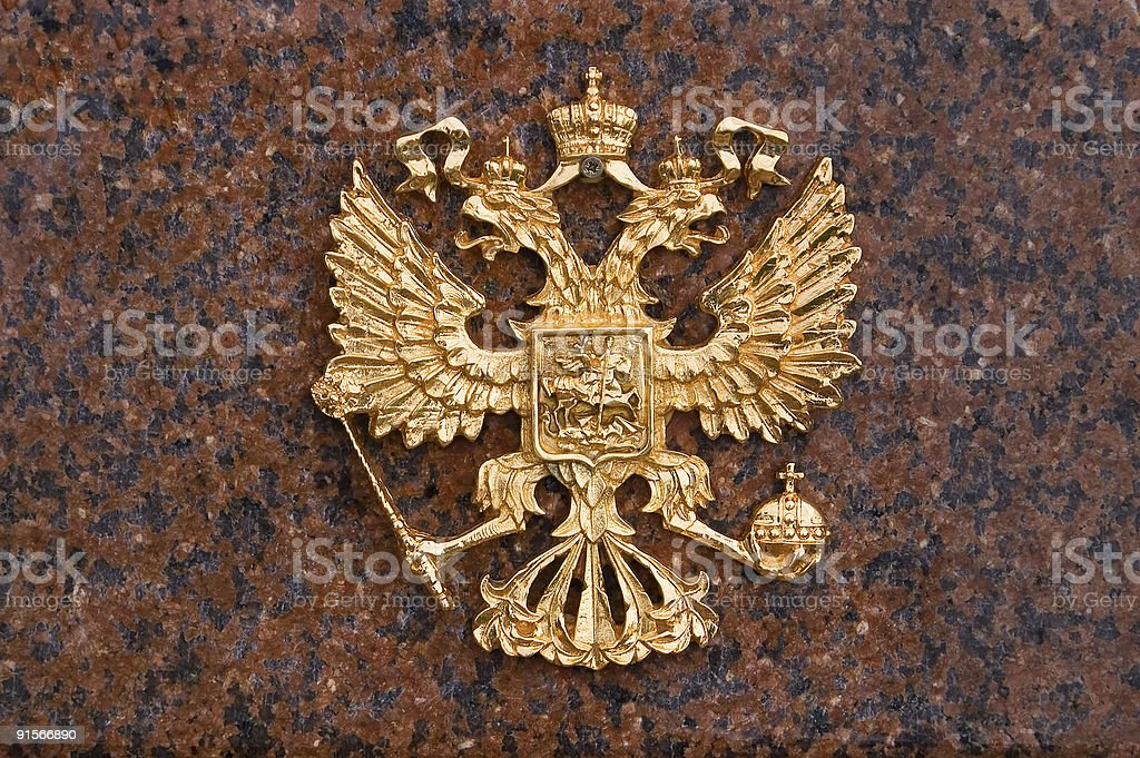 Golden State Emblem Of Russia On Marble stock photo