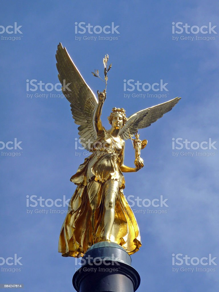 Golden statue Angel of Peace in Munich, Germany, 2009 stock photo