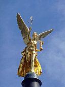 Golden statue Angel of Peace in Munich, Germany, 2009