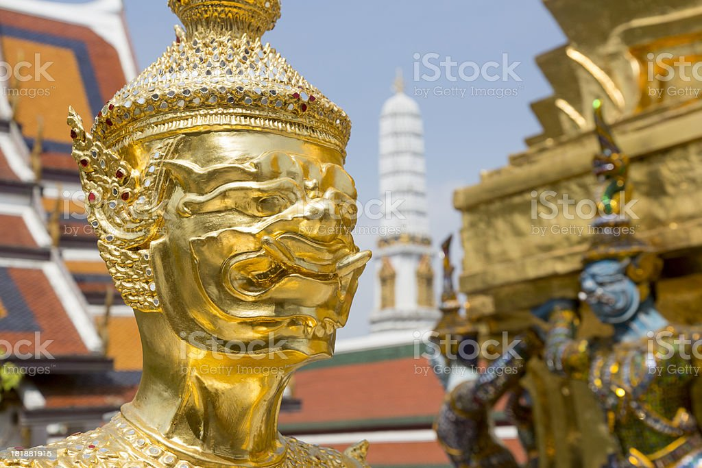 golden statue at Grand Palace in Thailand royalty-free stock photo