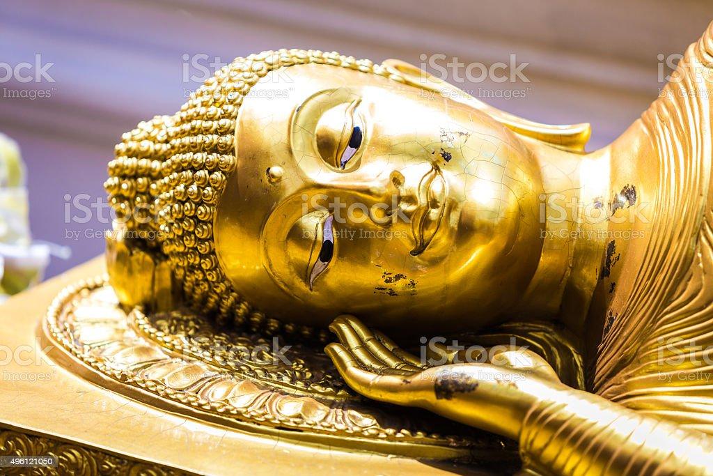Golden statue of buddha in Wat Phra That Doi Suthep stock photo