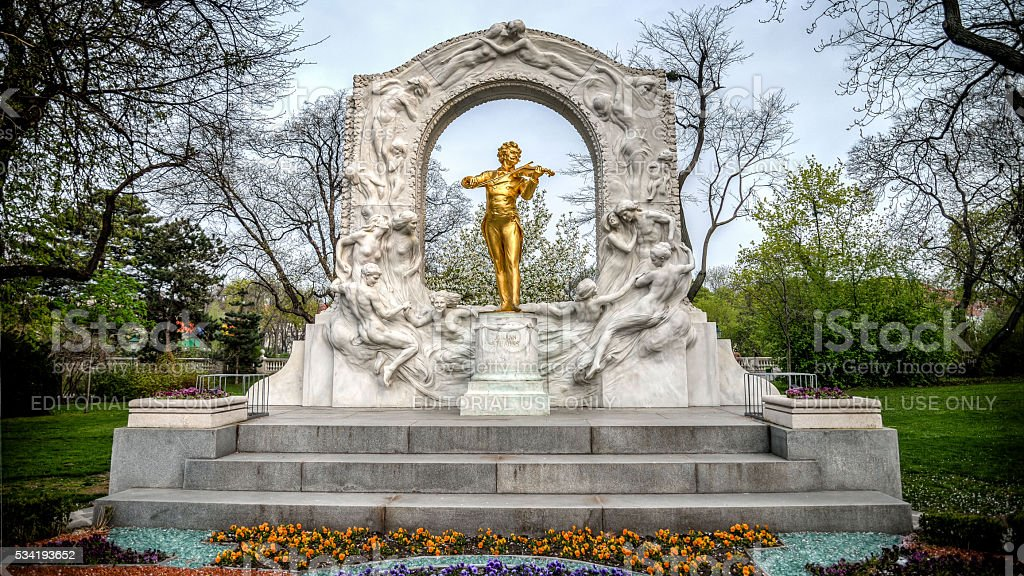 Golden Statue Of Johann Strauss Playing A Violin In Stadtpark stock photo
