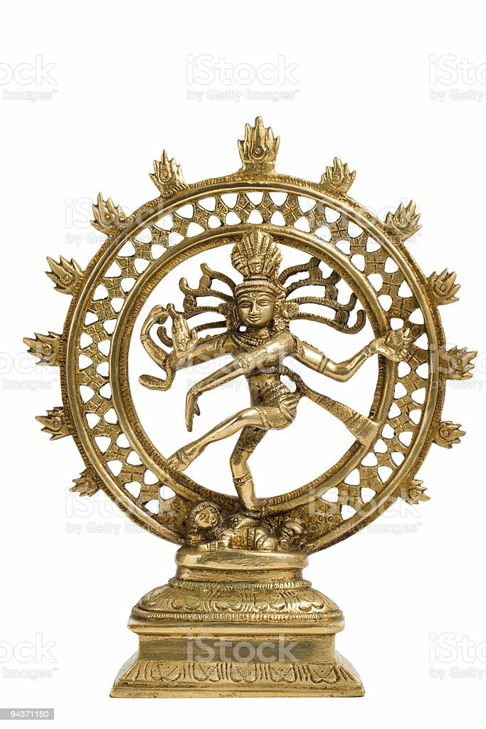 Golden statue of Shiva Nataraja dancing stock photo