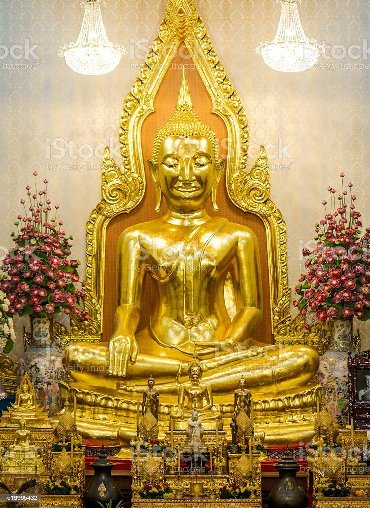 Golden statue Wat Traimit Bangkok Thailand stock photo