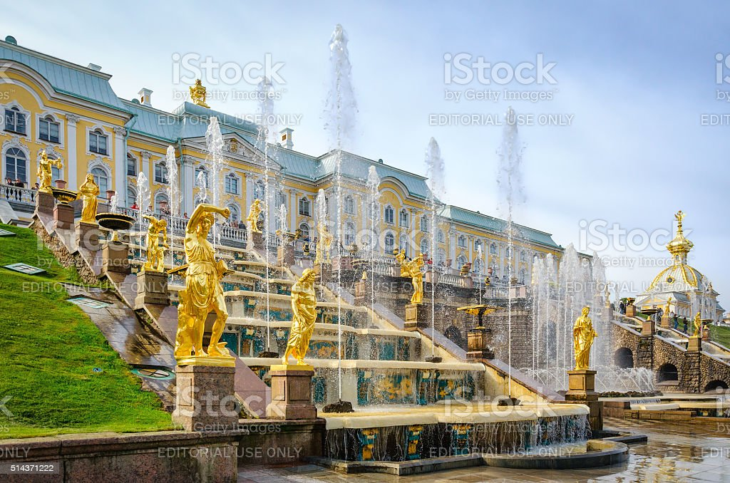 Golden statues at Grand Cascade in Petergof, Russia stock photo