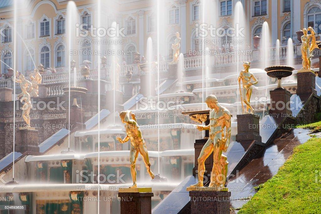Golden Statues in Garden Cascade of Peterhof Palace, Russia stock photo