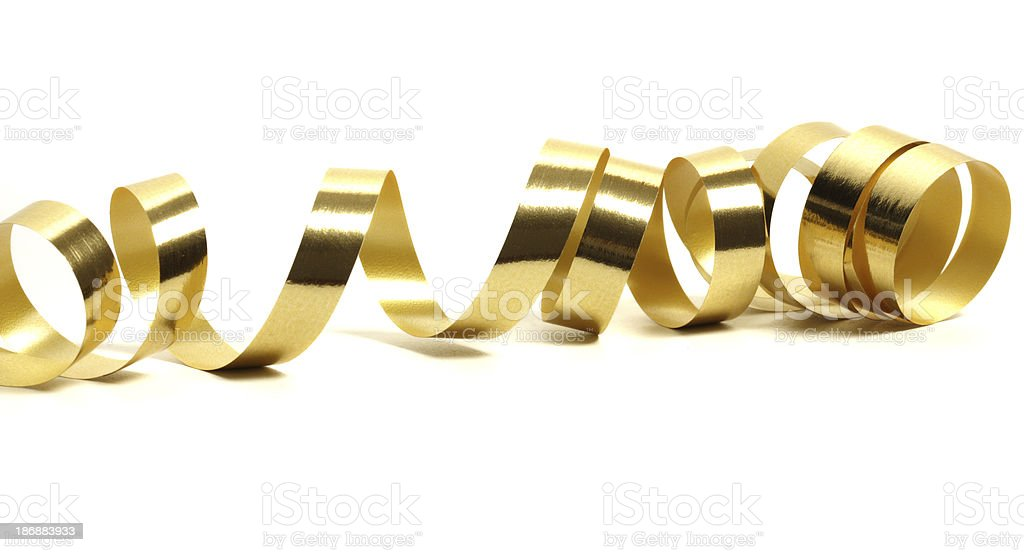 Golden streamer over white stock photo