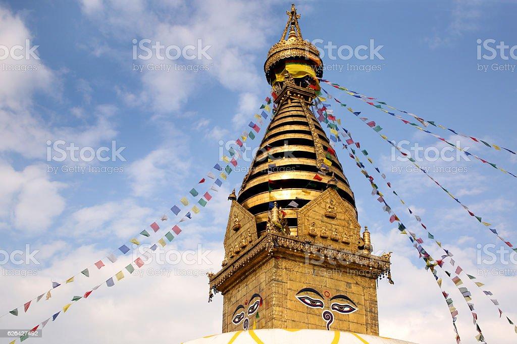 Golden stupa, Swayambhu Nath Buddhist temple, Kathmandu, Nepal. stock photo