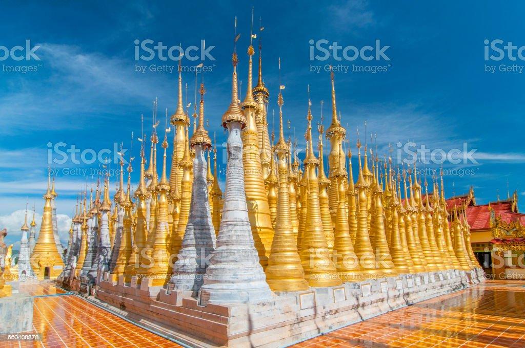 Golden stupas, Shwe Inn Thein Paya, Inthein, Inle Lake, Myanmar. stock photo