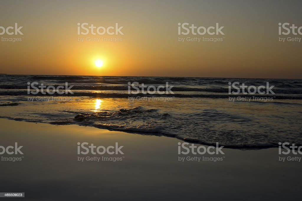 Golden Sun set at West Bay Gwadar royalty-free stock photo