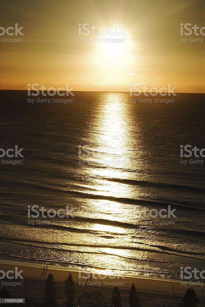 Golden sunrise at Gold Coast, Australia royalty-free stock photo